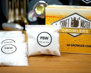 Single packet of PBW for cleaning your growler.