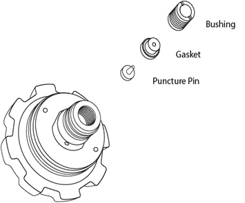 expanded diagram of pressurized growler cap