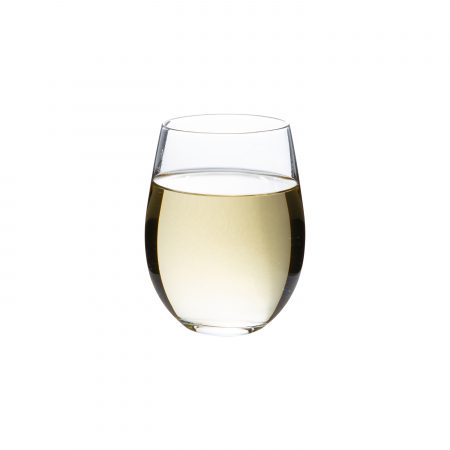 18oz stemless wine glass with white wine in it.