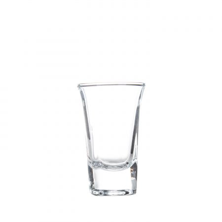 1 ounce flared shot glass side view and empty