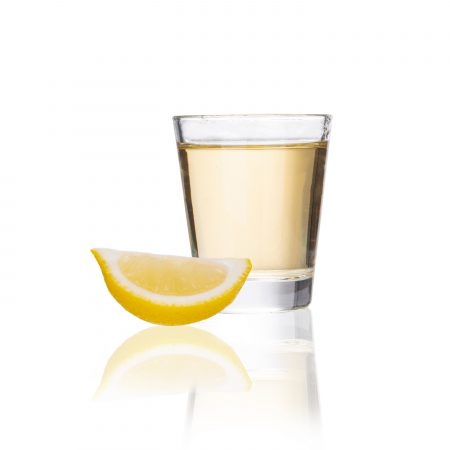 shot glass 1.75oz with lemon and tequila
